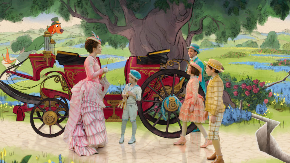 Emily Blunt is Mary Poppins, Lin-Manuel Miranda is Jack, Pixie Davies is Annabel, Nathanael Saleh is John and Joel Dawson is Georgie in Disney's MARY POPPINS RETURNS, a sequel to the 1964 MARY POPPINS, which takes audiences on an entirely new adventure with the practically perfect nanny and the Banks family.