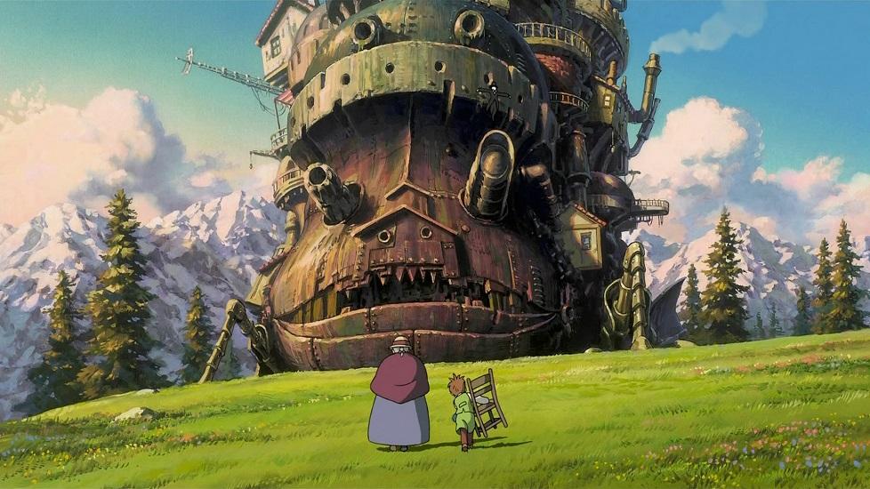 Un fotogramma che ritrae Il Castello errante di Howl che si avvicina alla protagonista femminile del film, Sophie Hatter