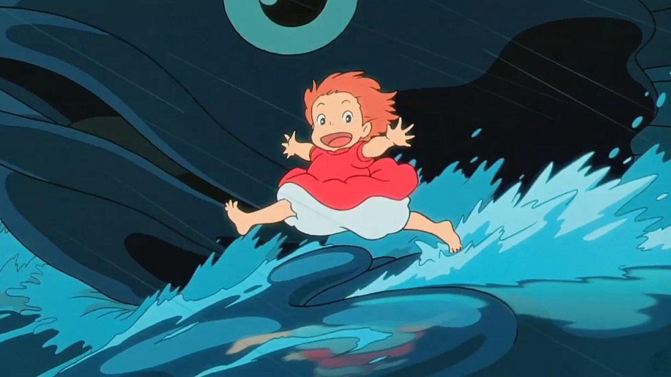 curiosità sullo Studio Ghibli: dettagli dell'acqua in Ponyo sulla scogliera, che è stata disegnata a mano da Miyazaki