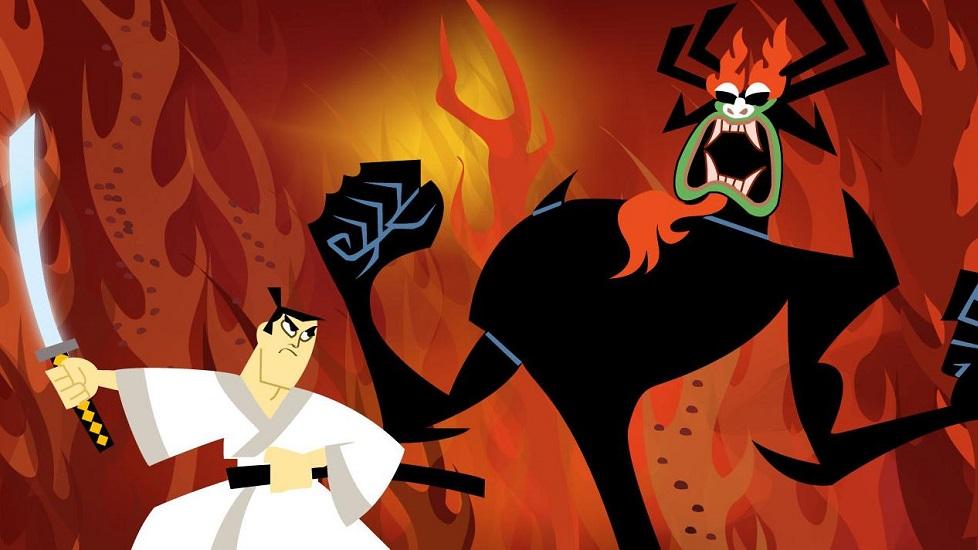 Samurai Jack è un esempio di animazione americana ispirata dagli anime. È cartone animato americano fortemente influenzato dagli anime. In questa immagine è possibile vedere Jack contro Aku, suo acerrimo nemico