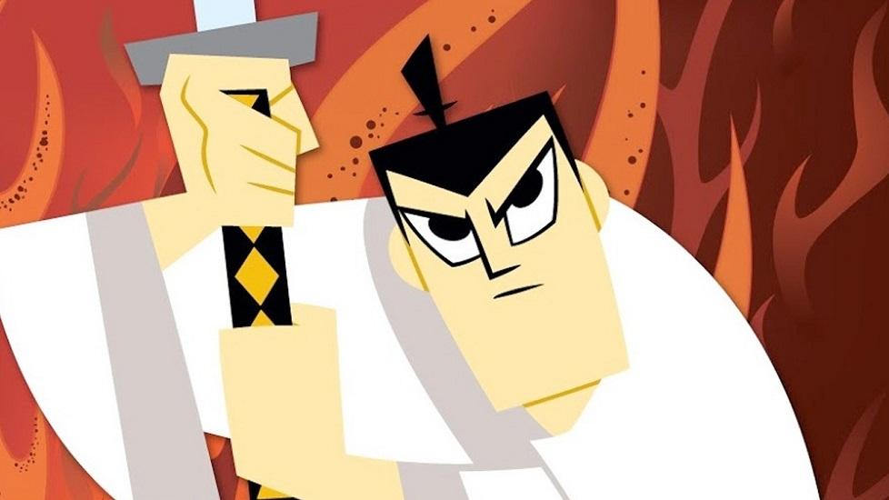 Primo piano di Samurai Jack che impugna la sua spada